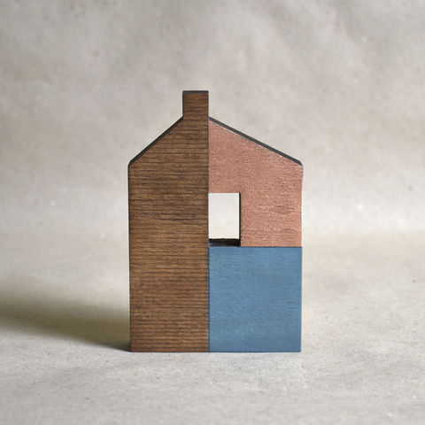 House,-,dark,turquoise/copper,no.33,sculpture, lasercut, plywood, house, architecture, miniature, gilding, copper, wood, barn, timber