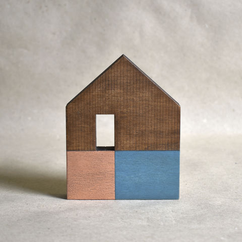 House,-,dark,turquoise/copper,no.32,sculpture, lasercut, plywood, house, architecture, miniature, gilding, copper, wood, barn, timber