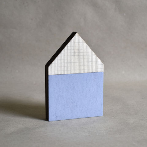 House,-,blue,no.34,sculpture, lasercut, plywood, house, architecture, miniature, blue, wood