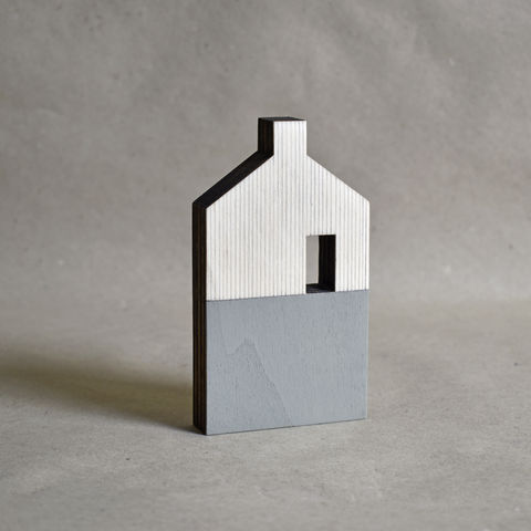 House,-,sage,no.35,sculpture, lasercut, plywood, house, architecture, miniature, green, grey, wood