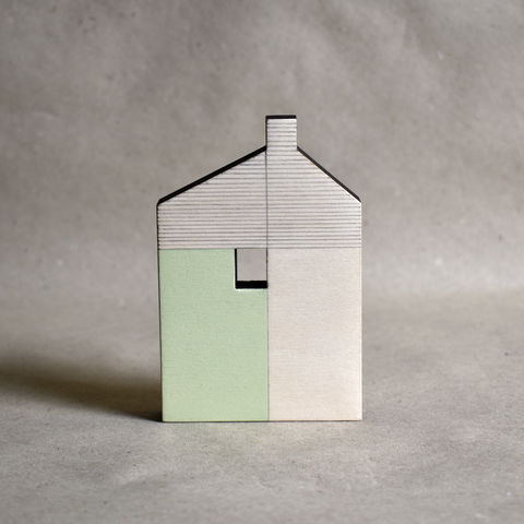 House,-,pale,green,no.36,sculpture, lasercut, plywood, house, architecture, miniature, green, wood