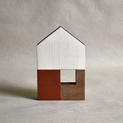 House,-,red,no.37,sculpture, lasercut, plywood, house, architecture, miniature, red, wood
