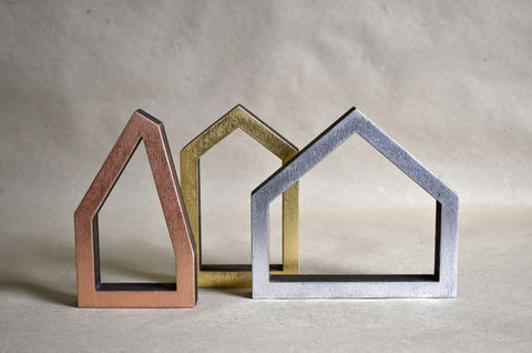Three,Houses,-,outline/gilded,sculpture, lasercut, plywood, house, architecture, miniature, silver, gold, copper, wood
