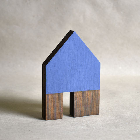 House,-,bright,blue,no.38,sculpture, lasercut, plywood, house, architecture, miniature, blue, wood