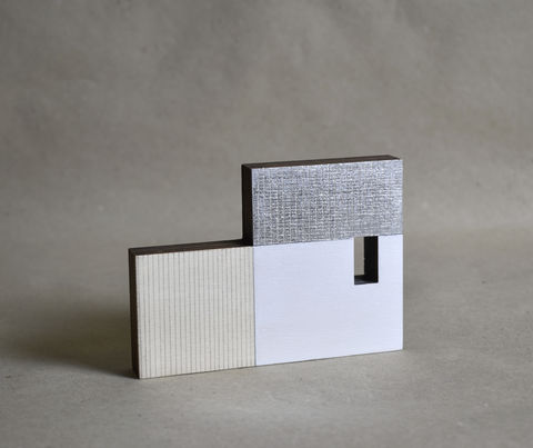 Cabin,-,white/silver,no.39,sculpture, lasercut, plywood, house, architecture, miniature, gilding, white, wood, scandinavian, nordic