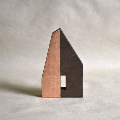 Hut,-,dark/copper,no.41,sculpture, lasercut, plywood, house, architecture, miniature, gilding, copper, wood, hut, timber