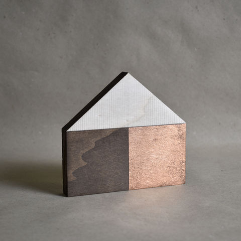 House,-,wood/copper,no.29,sculpture, lasercut, plywood, house, architecture, miniature, gilding, copper, wood, barn, timber