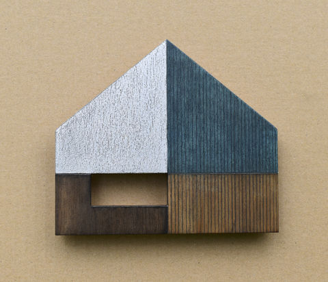 House,-,prussian/silver,w.3,plywood, house, wall sculpture, silver, window, blue