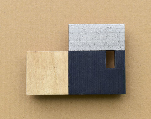 Cabin,-,indigo/silver,w.4,plywood, house, wall sculpture, silver, window, blue, cabin