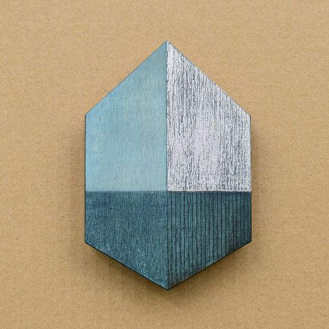 House,-,blue/silver,w.6,plywood, house, wall sculpture, silver, window, blue