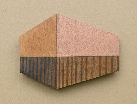 House,-,umber/copper,w.7,plywood, house, wall sculpture, gable, copper, gilding