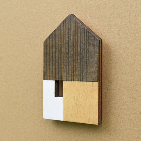 House,-,brown/white,w.8,plywood, house, wall sculpture, gable, pencil
