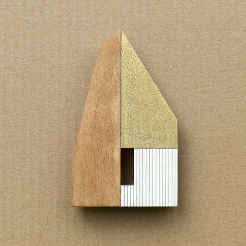 Hut,-,umber/gold,w.9,plywood, house, wall sculpture, gable, pencil, hut, gold
