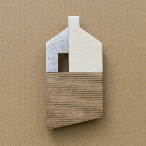 House,-,umber/silver,w.10,plywood, house, wall sculpture, gable, pencil, chimney, silver, brick, lines