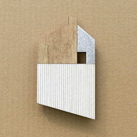 House,-,whitewood/silver,w.11,plywood, house, wall sculpture, gable, pencil, chimney, silver, brick, lines