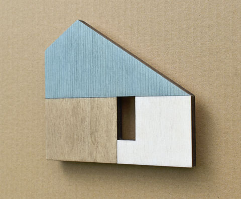 House,-,turquoise/white,w.12,plywood, house, wall sculpture, gable, pencil, wood