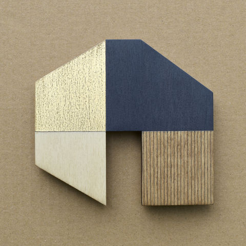 House,-,indigo/gold,w.13,plywood, house, wall sculpture, gable, pencil, wood, gold, indigo