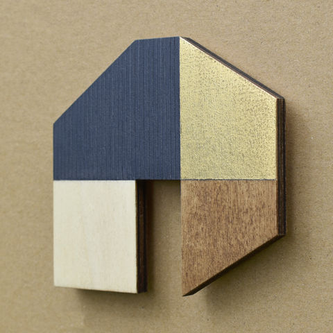 House,-,indigo/gold,w.14,plywood, house, wall sculpture, gable, pencil, wood, gold, indigo
