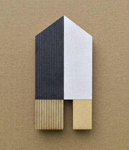 House,-,indigo/white,w.15,plywood, house, wall sculpture, gable, pencil, wood, indigo, tall house