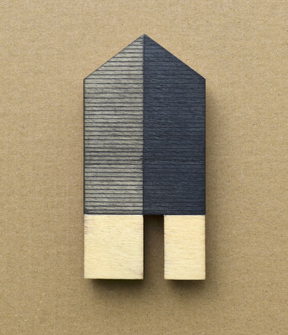 House,-,indigo/lines,w.16,plywood, house, wall sculpture, gable, pencil, wood, indigo, tall house
