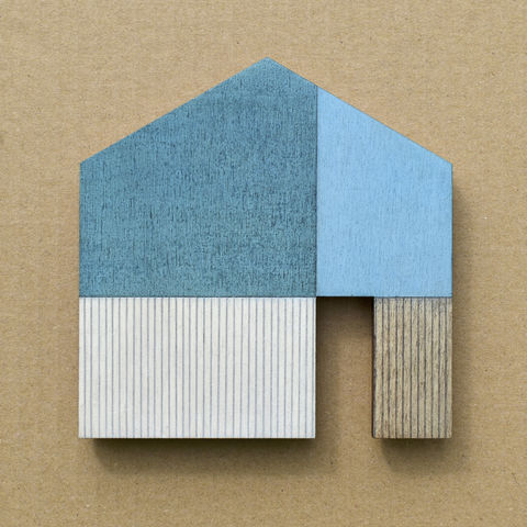 House,-,turquoise/white,w.17,plywood, house, wall sculpture, gable, pencil, wood, turquoise, door