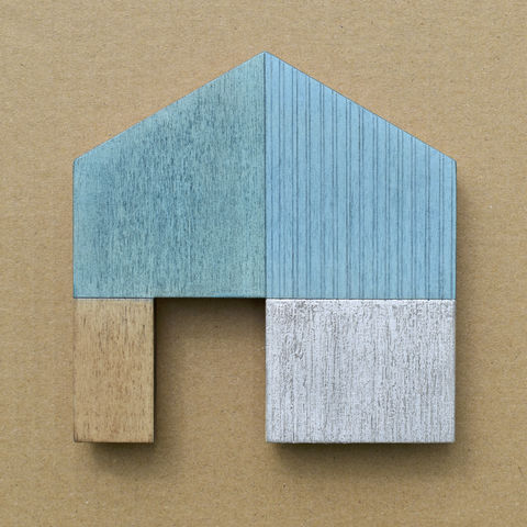 House,-,turquoise/white,w.18,plywood, house, wall sculpture, gable, pencil, wood, turquoise, door, metal