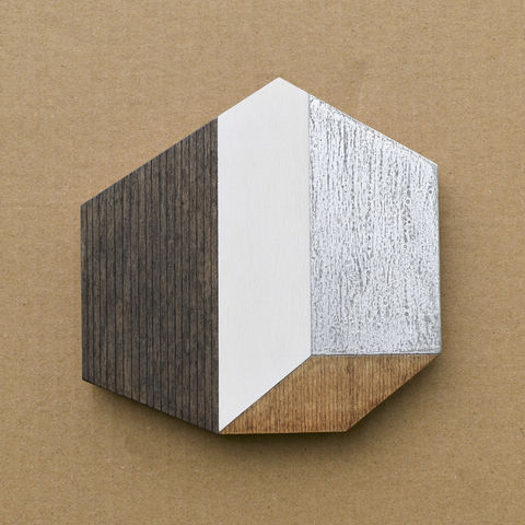 Abstract,House,-,dark/silver,w.19,plywood, house, wall sculpture, gable, pencil, silver, metal