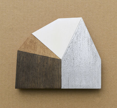 Abstract,House,-,dark/silver,w.20,plywood, house, wall sculpture, gable, pencil, silver, metal