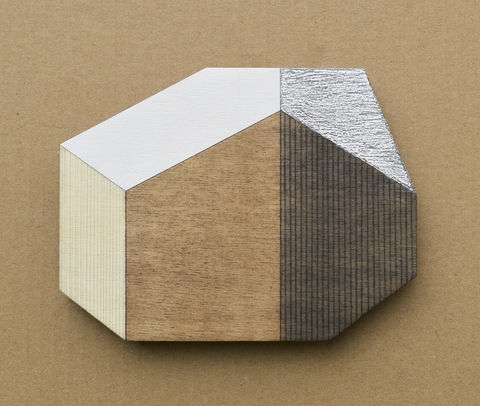 Abstract,House,-,dark/silver,w.21,plywood, house, wall sculpture, gable, pencil, silver, metal