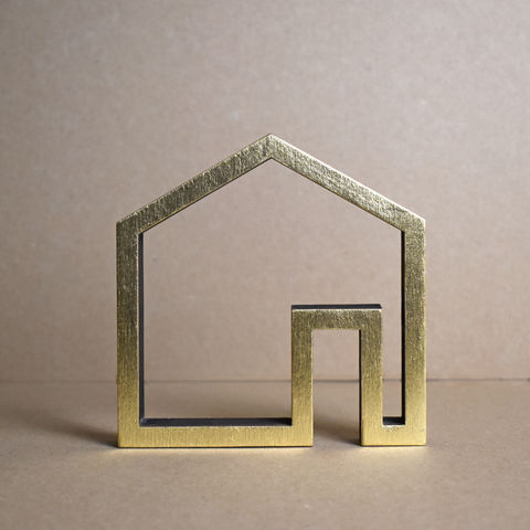 Gold,House,1,-,outline,sculpture, lasercut, plywood, house, architecture, miniature, gold
