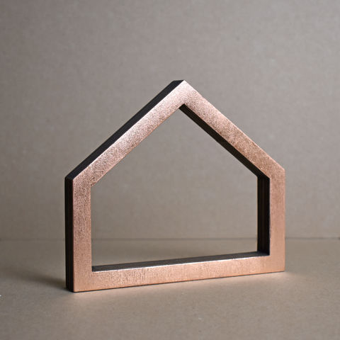 Copper,House,2,-,outline,sculpture, lasercut, plywood, house, architecture, miniature, gold