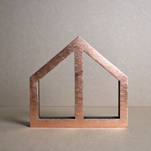 Copper,House,3,-,outline,sculpture, lasercut, plywood, house, architecture, miniature, copper