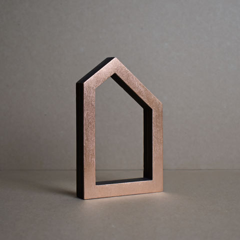 Copper,House,4,-,outline,sculpture, lasercut, plywood, house, architecture, miniature, copper
