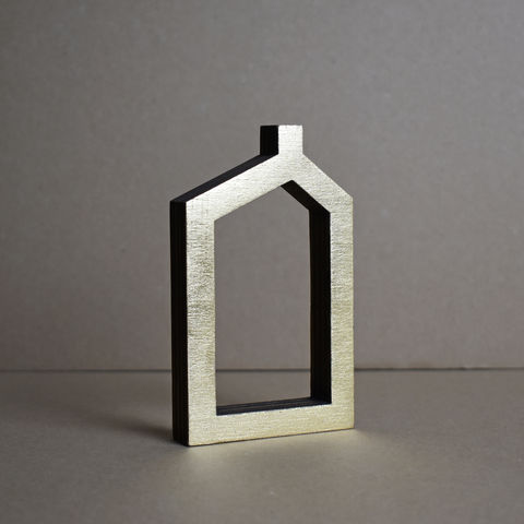 Gold,House,5,-,outline,sculpture, lasercut, plywood, house, architecture, miniature, gold