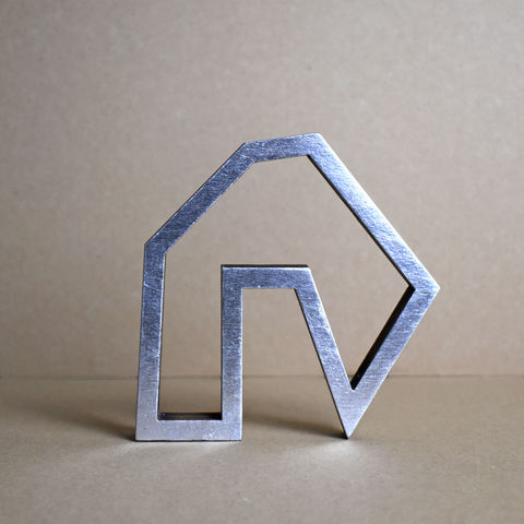 Silver,Abstract,House,7,-,outline,sculpture, lasercut, plywood, house, architecture, miniature, silver