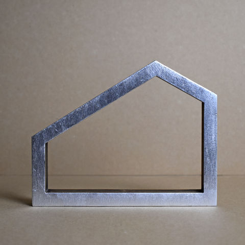 Silver,House,9,-,outline,sculpture, lasercut, plywood, house, architecture, miniature, silver