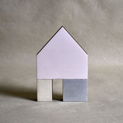 House,-,pink/silver,no.42,sculpture, lasercut, plywood, house, architecture, miniature, pink, silver, wood, gable, metal