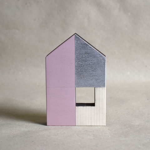 House,-,pink/silver,no.43,sculpture, lasercut, plywood, house, architecture, miniature, pink, silver, wood, gable, metal