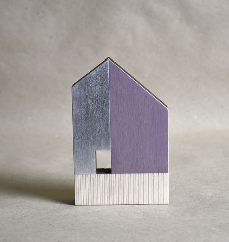 House,-,pink/silver,no.44,sculpture, lasercut, plywood, house, architecture, miniature, pink, silver, wood, gable, metal