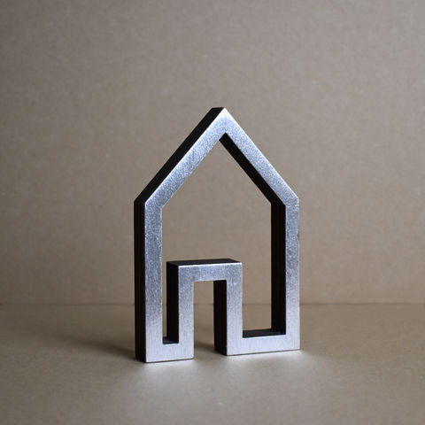 Silver,House,10,-,outline,sculpture, lasercut, plywood, house, architecture, miniature, silver