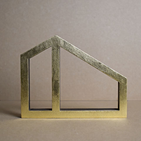 Gold,House,13,-,outline,sculpture, lasercut, plywood, house, architecture, miniature, gold