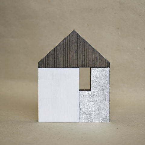 House,-,white/silver,no.45,sculpture, lasercut, plywood, house, architecture, miniature, gilded, silver, white, wood