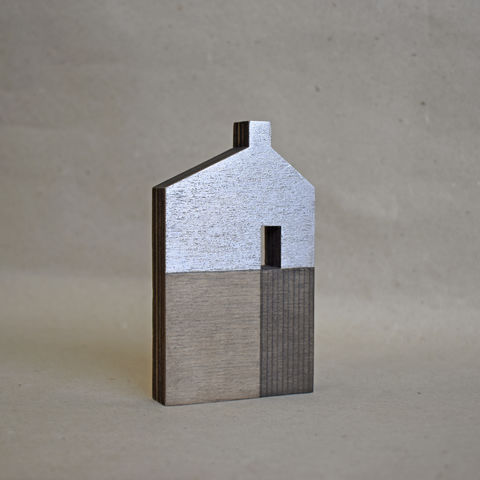 House,-,white/silver,no.46,sculpture, lasercut, plywood, house, architecture, miniature, gilded, silver, white, wood