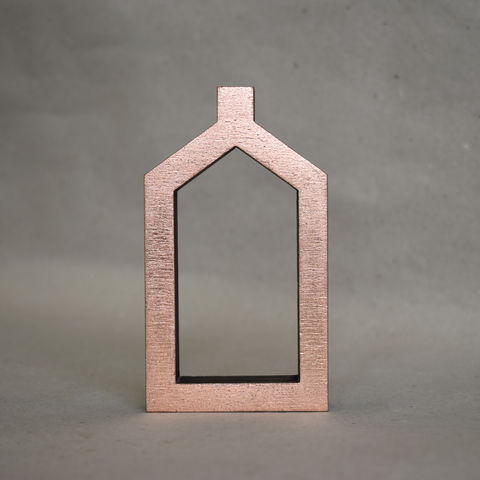 Copper,House,6,-,outline,sculpture, lasercut, plywood, house, architecture, miniature, copper
