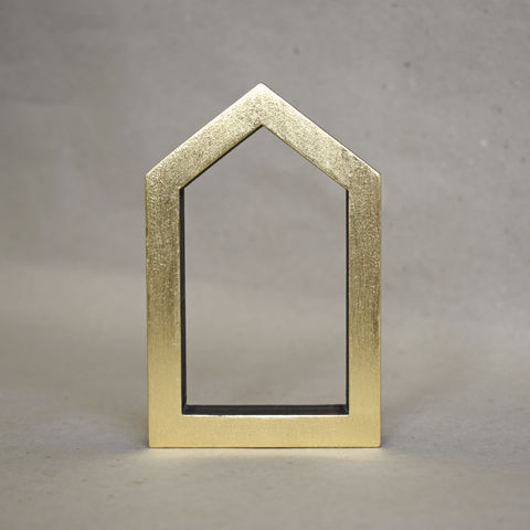Gold,House,11,-,outline,sculpture, lasercut, plywood, house, architecture, miniature, gold