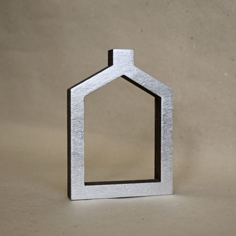 Silver,House,12,-,outline,sculpture, lasercut, plywood, house, architecture, miniature, silver
