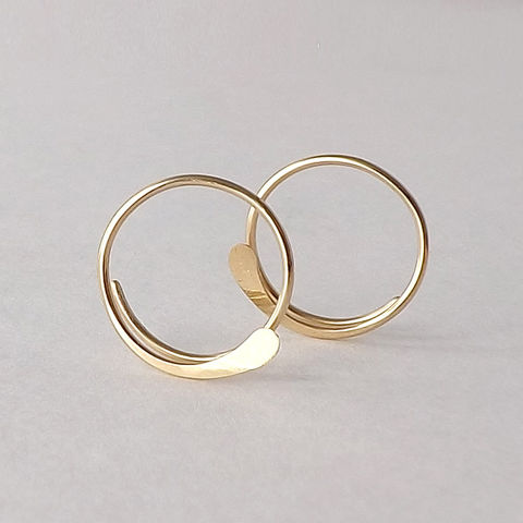 14k Solid Gold Hammered Open Hoops