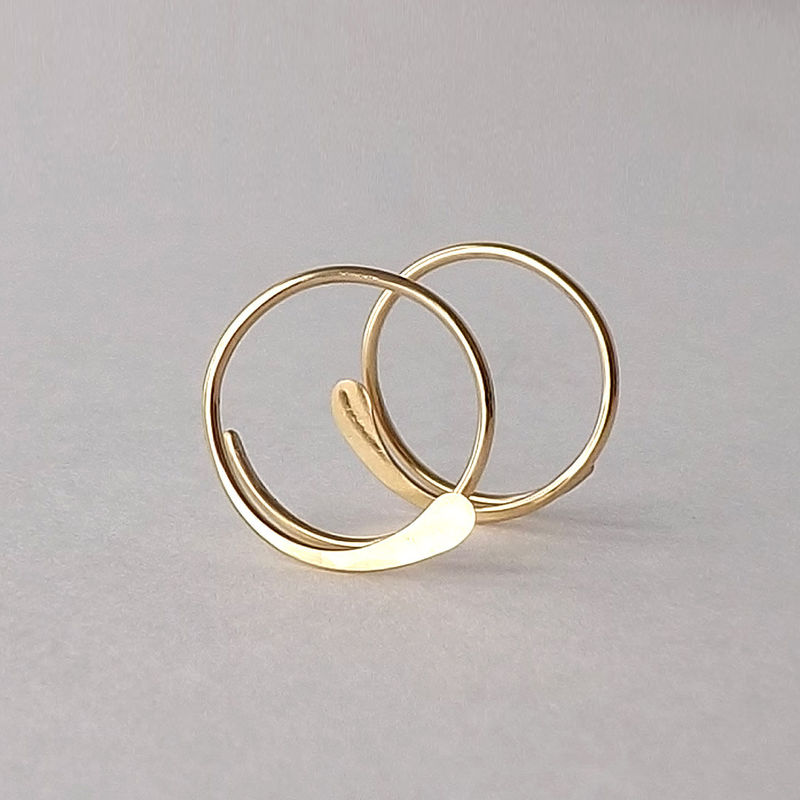 14k Solid Gold Hammered Open Hoops - product images  of