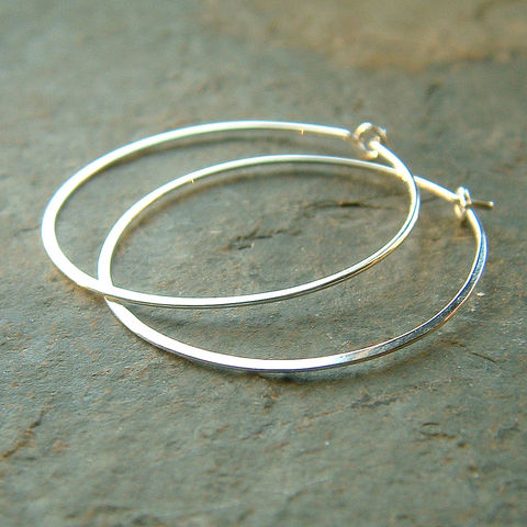 Sterling,Silver,Hoop,Earrings,Lightweight,Simple,Hoops,hoop earrings, silver hoop earrings, silver hoops, sterling silver hoops, medium hoops, lightweight hoops, hammered hoops, sterling silver, k davis studios