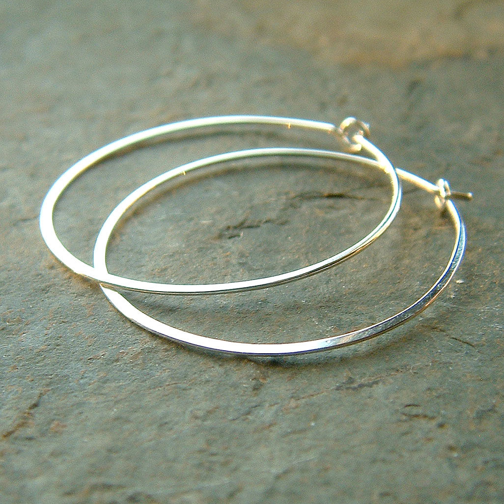 Sterling Silver Hoop Earrings Lightweight Simple Hoops